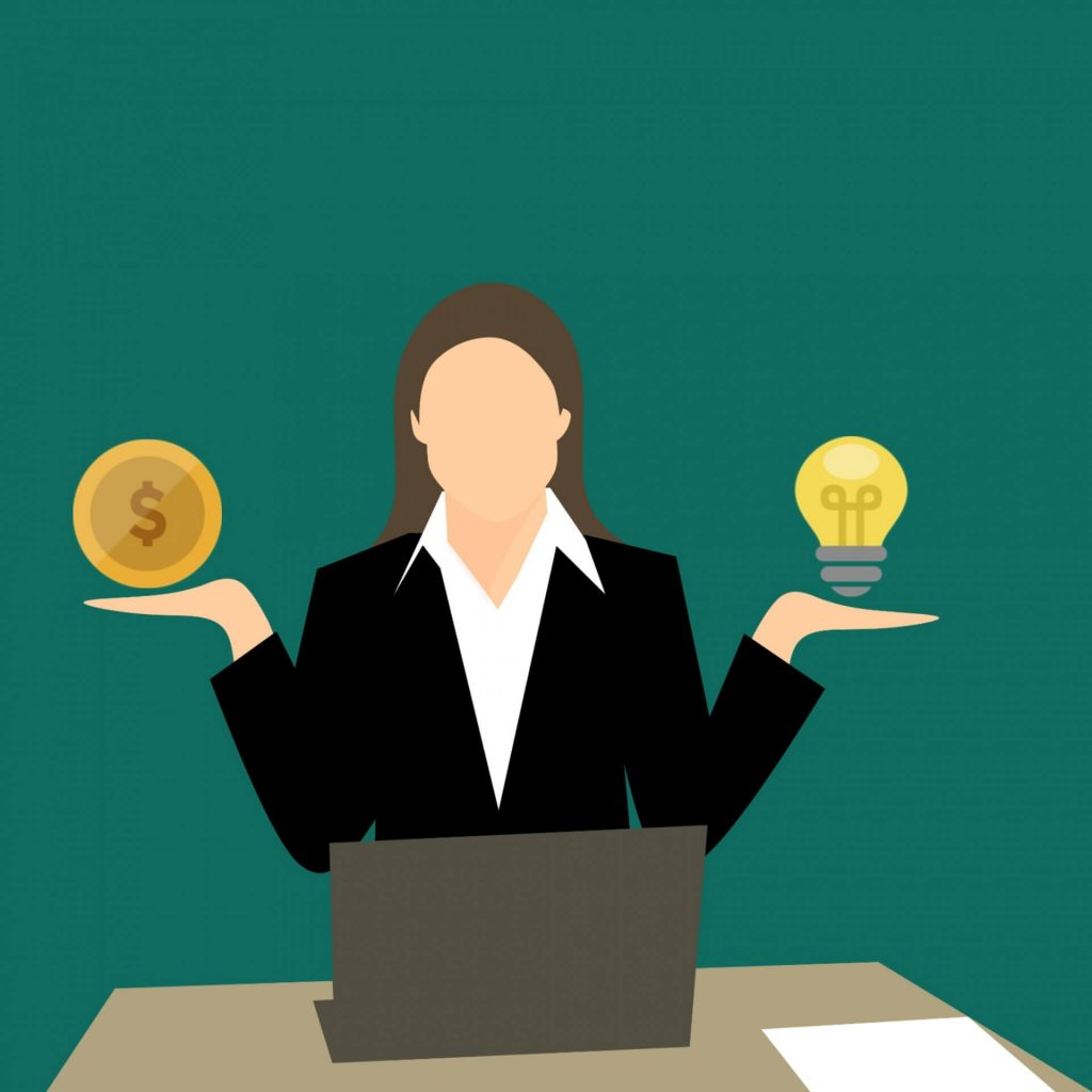 A graphic showing a businesswoman sitting at a laptop. She has a coin in one hand, and a light bulb in the other.