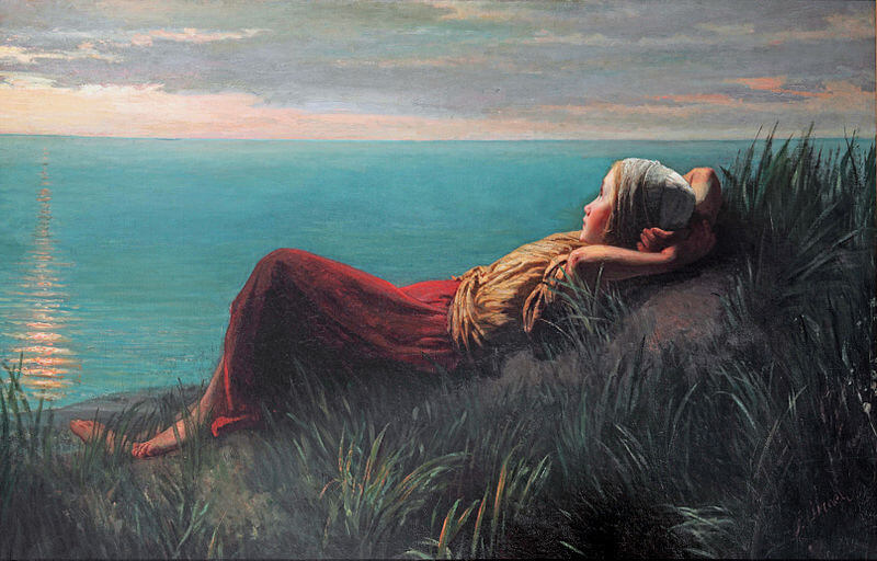 Image of a painting by J. Israels.  Dreaming.