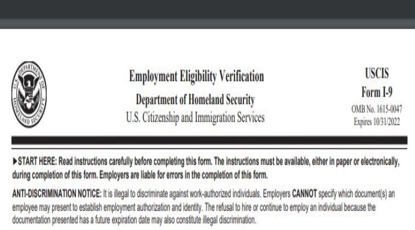 Image of form I-9, which has had a recent policy change.