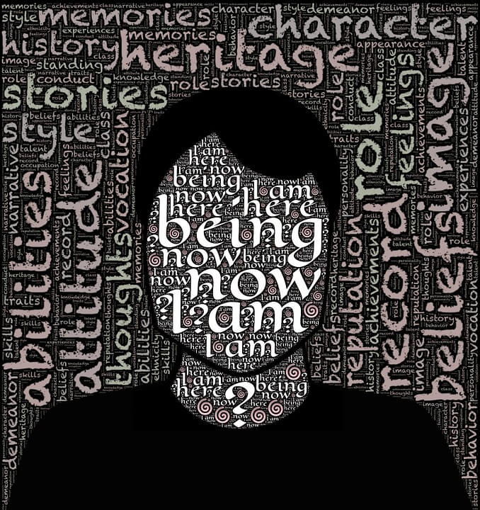 Image of a silhouette of a person with identity-related words, showing how situational marketing explains who a company is.
