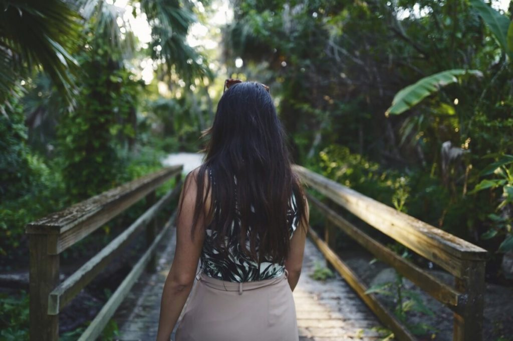 Image of a woman walking confidently over a bridge in the jungle [having found her payroll resources].