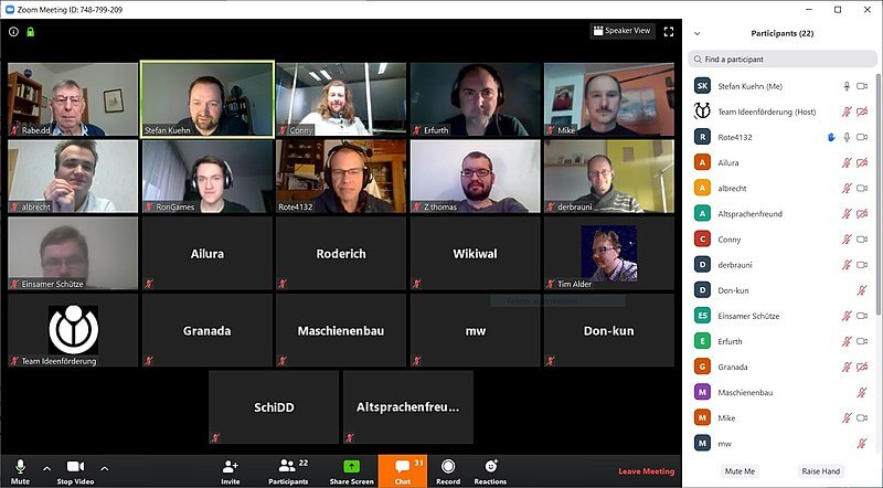 Photo of a Zoom conference call, a place where cyber attacks are common.