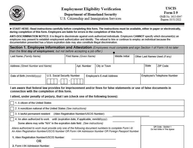 Image of the IRS Form I-9, which will have flexibility extended until 08/19/2020.