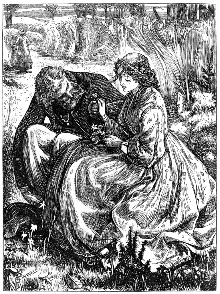 Image of a man wooing a woman.