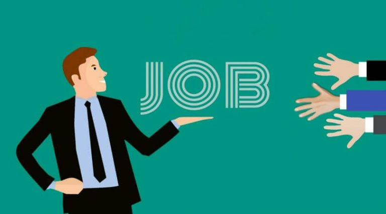 Image fo a businessman holding his hand out with the word JOB hovering above it, as hands reach out from the right side.