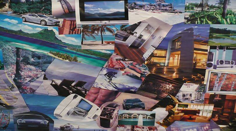 Photo of a business vision board with only pictures.