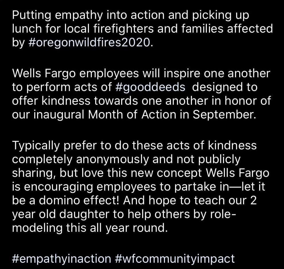 Image of an Instagram post from a Wells Fargo employee talking about how the organization inspired her to give back.