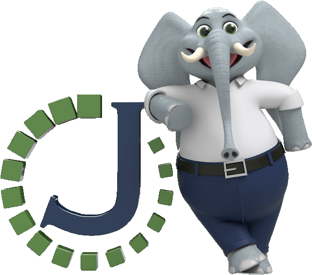 An elephant in business casual attire leaning on the Journey logo