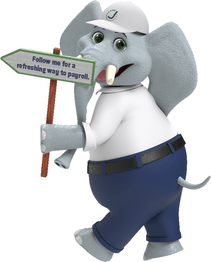 An elephant in business casual attire with a sign that says Follow me for a refreshing way to payroll