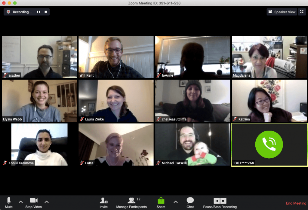 Photo of a zoom meeting, such as zoom caroling from the office holiday party ideas list.