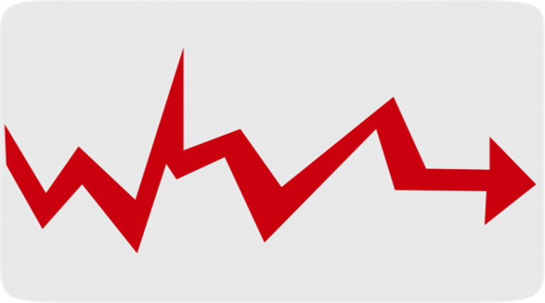 Image of a line graph showing a red line, moving up and down with no pattern or trend, with an arrow at the end.