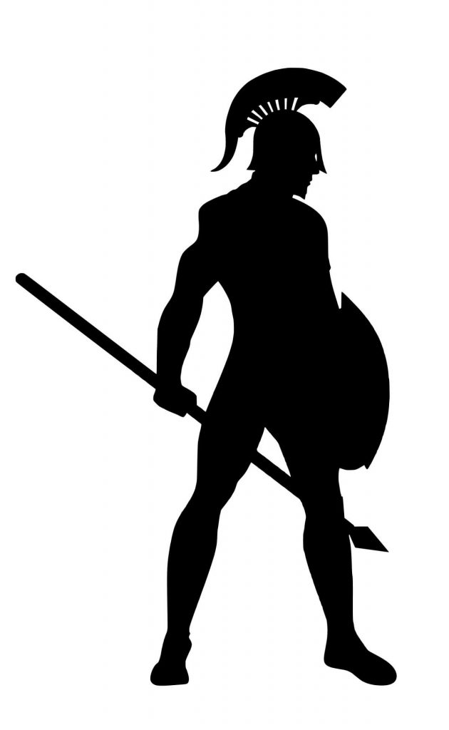 Image of a gladiator armed with a shield and spear, to protect against COVID-19 scams.