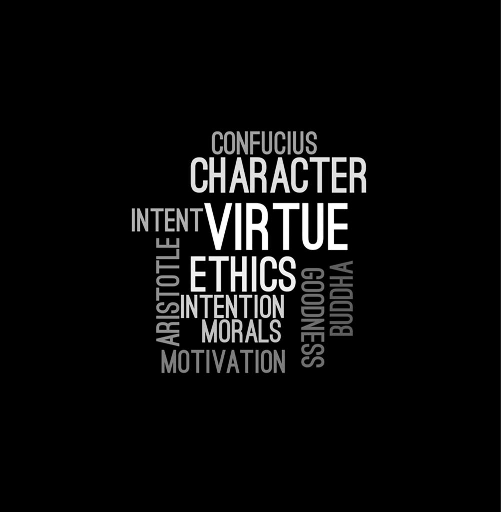Word collage including the words CHARACTER, VIRTUE, ETHICS, MORALS, MOTIVATION, etc, which are fundamentals of leadership.