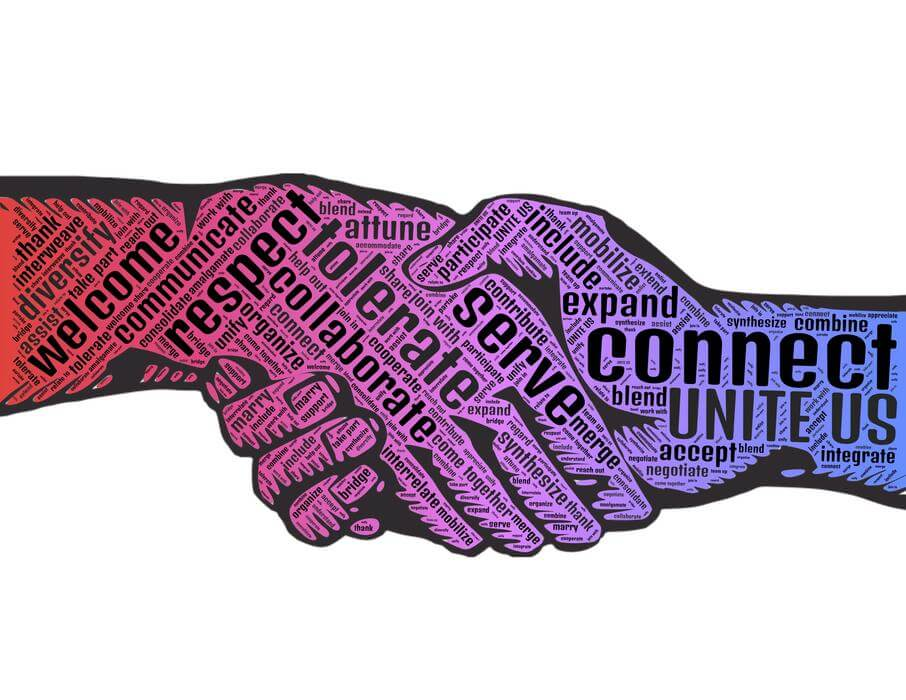 Image of two hands embracing, with the words WELCOME, RESPECT, COLLABORATE, TOLERATE, SERVE, CONNECT, UNITE US, etc.