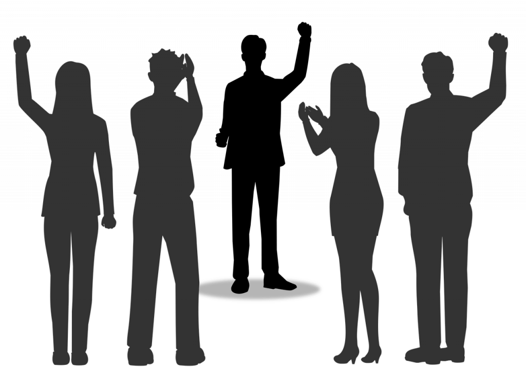 Image of silhouettes of people clapping and raising fists.