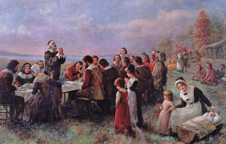 Painting of the Puritans Thanksgiving.