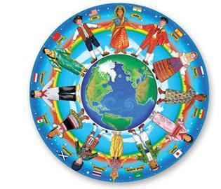 Image of diverse people holding hands around a globe.