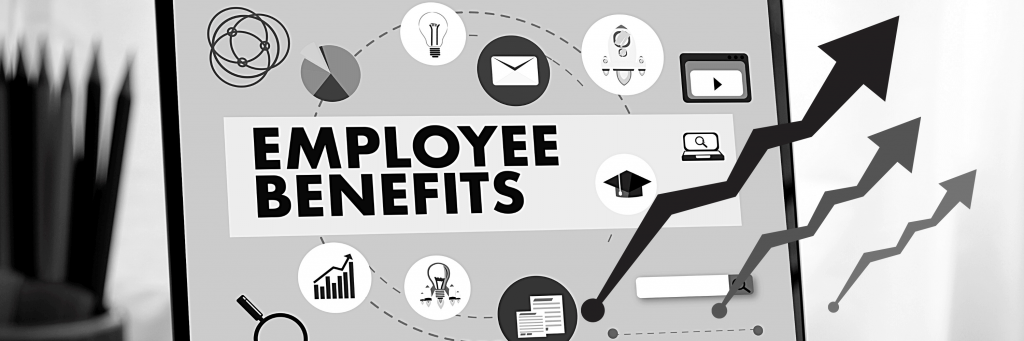 A screen that says employee benefits and has different benefit-related icons, with trending arrows.