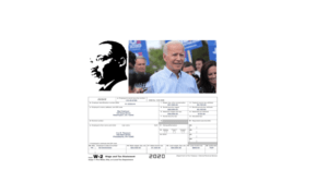 Image of a silhouette of MLK, a picture of Joe Biden, and a copy of a 2020 W-2 form.