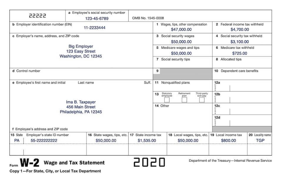 Image of the 2020 W-2 form.