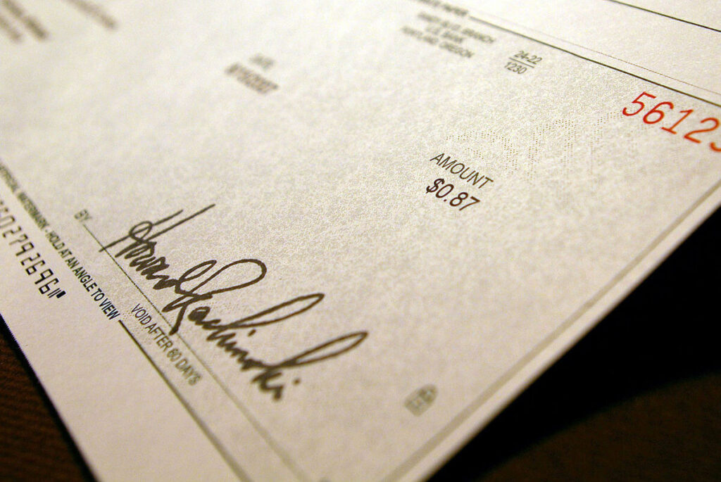 An example of a royalty cheque from a music publisher.