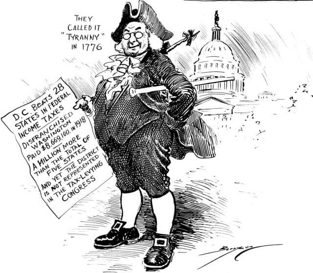 Image of a black and white positical cartoon with an old American leader holding rhetoric pertaining to taxes.