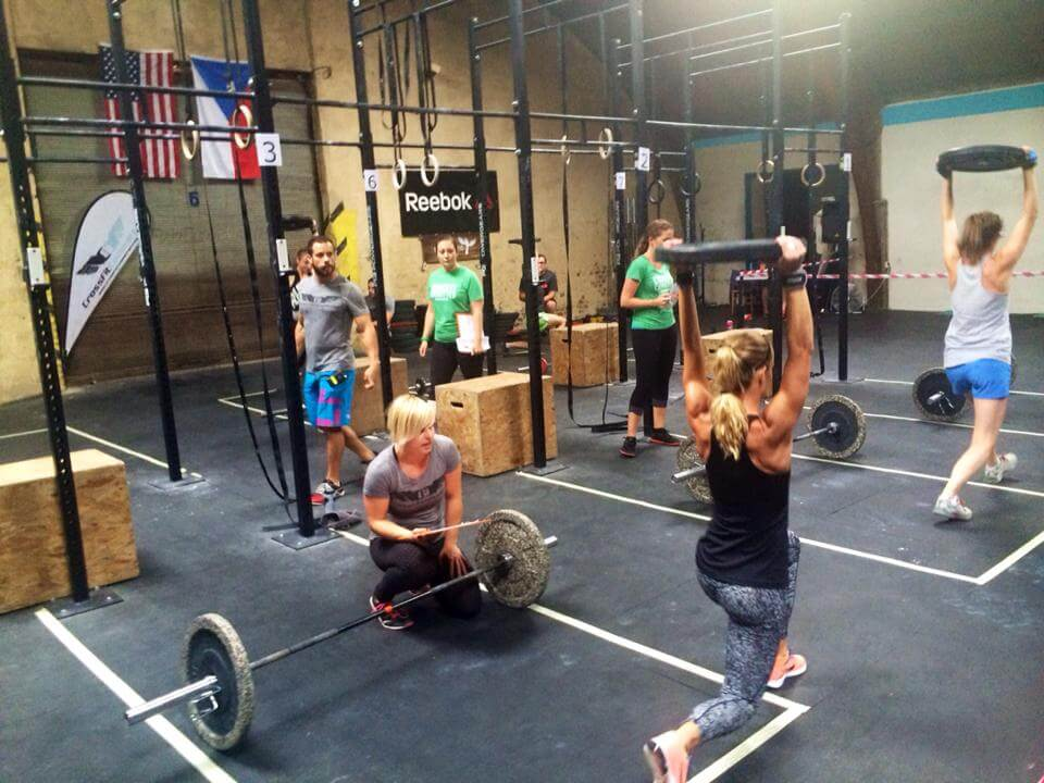 Photos of people cross-training in a CrossFit gym.