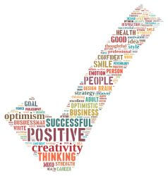 Word collage including the words SUCCESSFUL, POSITIVE, GOOD, CREATIVITY, THINKING, etc.