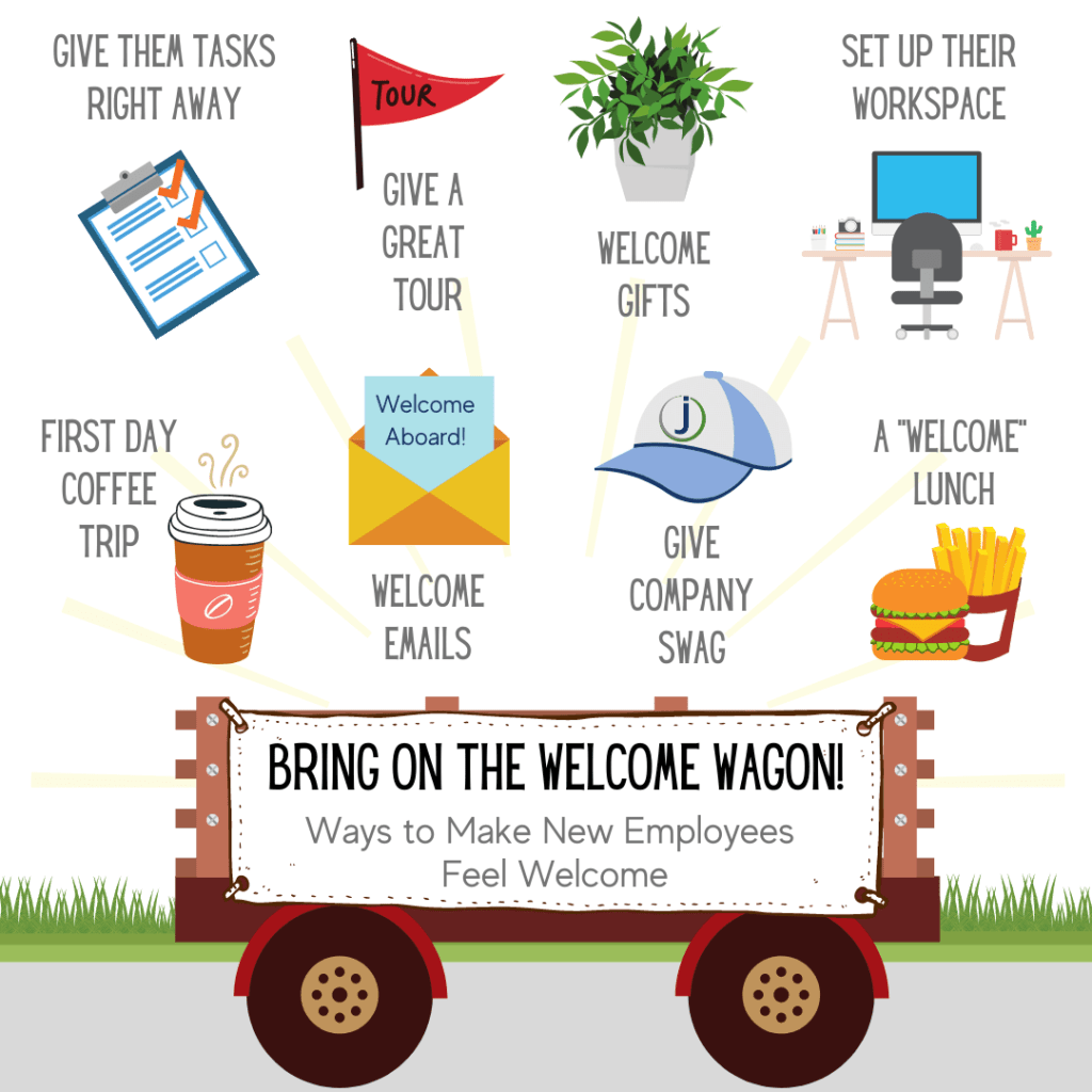 An infographic of the best ways to welcome your new employees to the team.