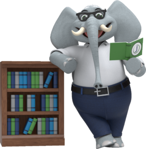 An elephant wearing glasses and office attire reading a book and leaning on a bookshelf