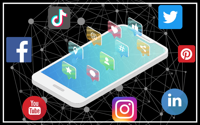 graphic of social media icons over a cell phone with network in the background