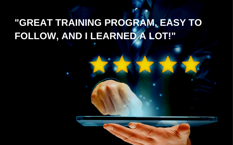 An image of a hand casting a review about the employee training process.
