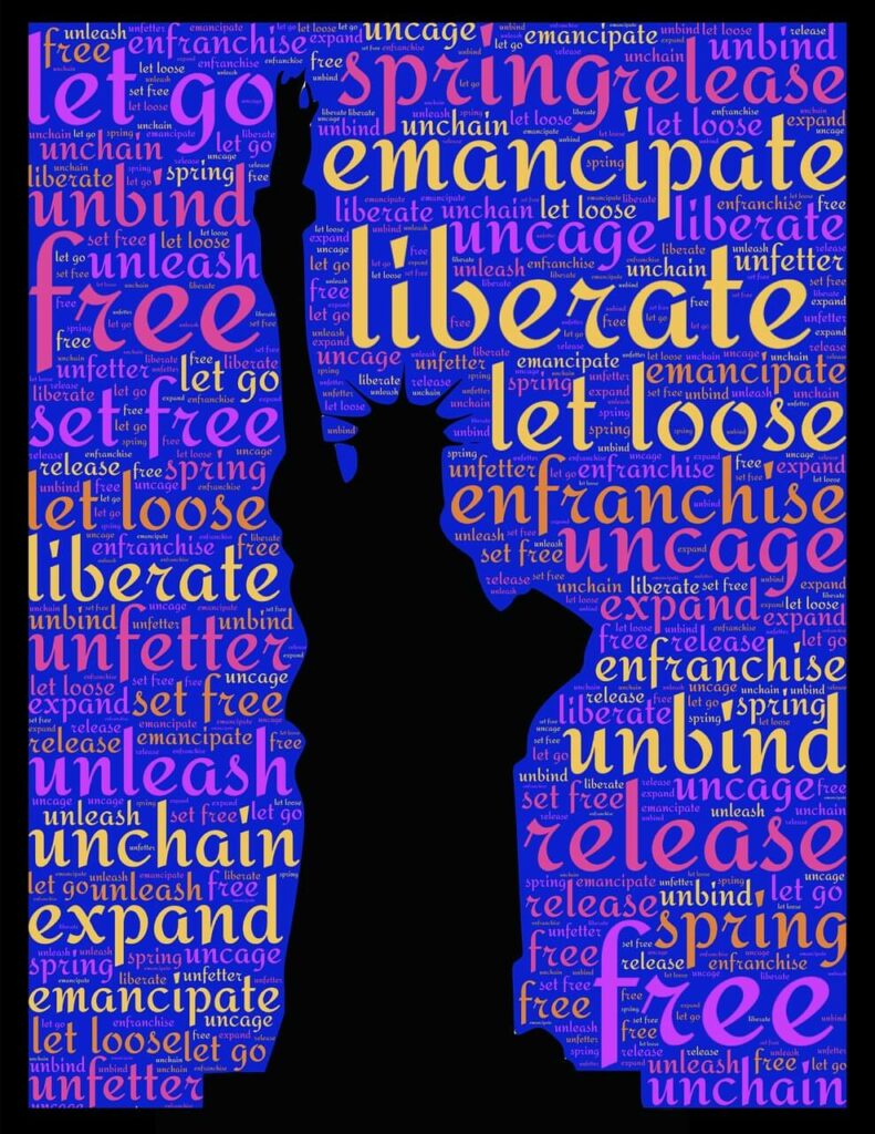 Word cloud including the words emancipate, liberate, free, release, regarding Emancipation Day, which has to do with the tax deadline.