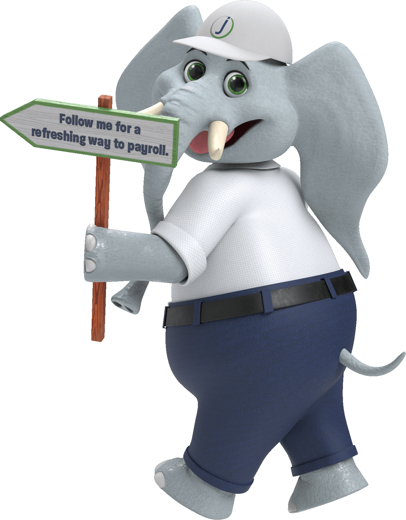 """An elephant in business casual attire with a sign that says, """"Follow me for a refreshing way to payroll"""""""
