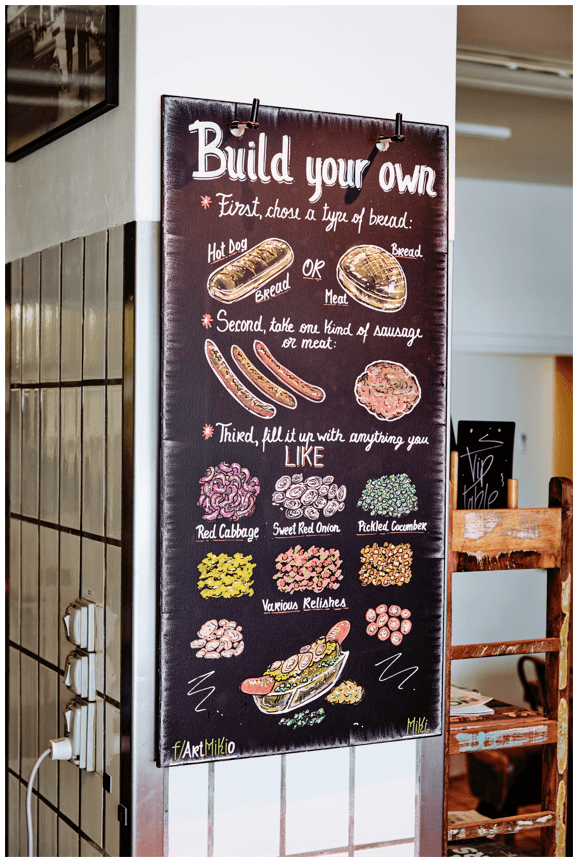 """Photo of a sign with the words """"Build your own"""" and pictures of different kinds of hotdogs and toppings."""