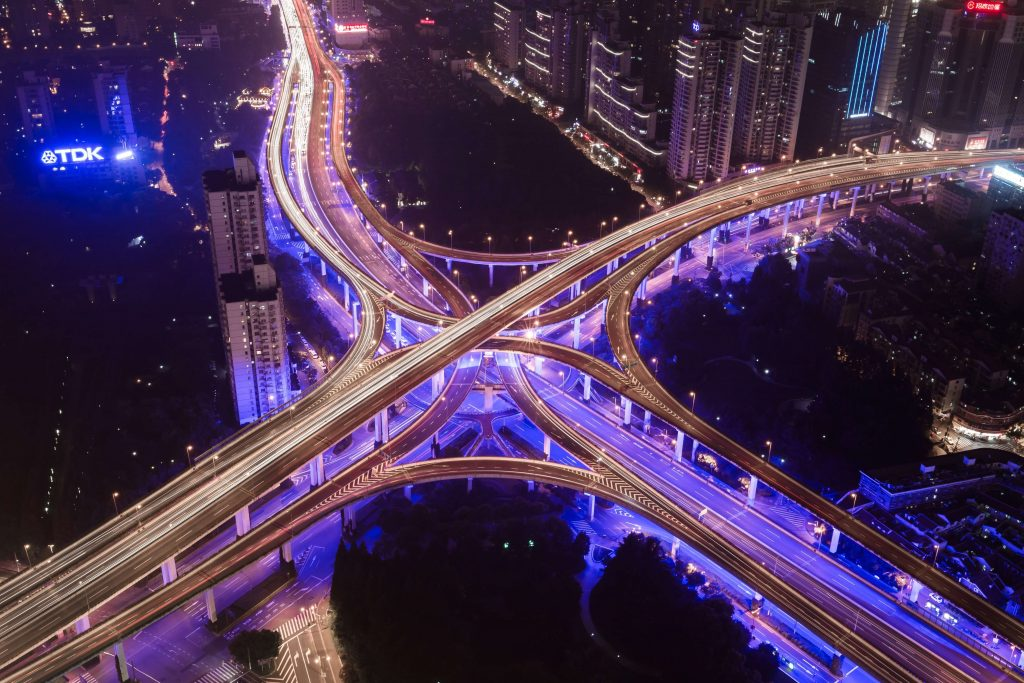 Photo of an aerial view of a city highway interchange.