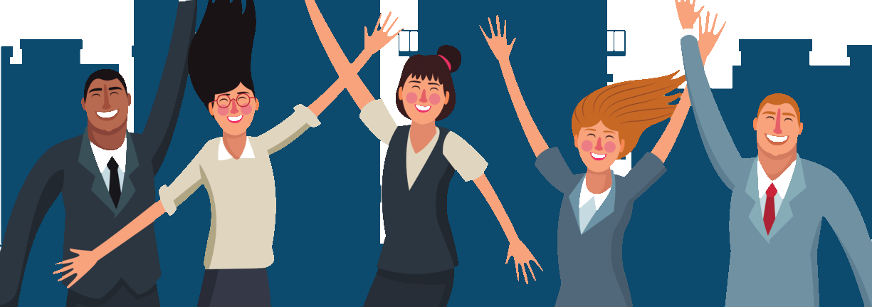 Cartoon image of five individuals in business attire celebrating with their arms up in the air
